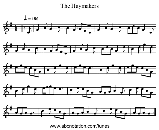 The Haymakers - staff notation