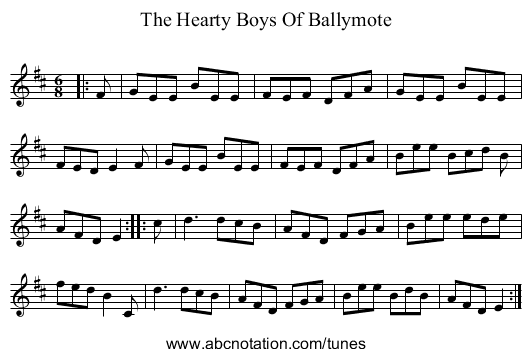 The Hearty Boys Of Ballymote - staff notation