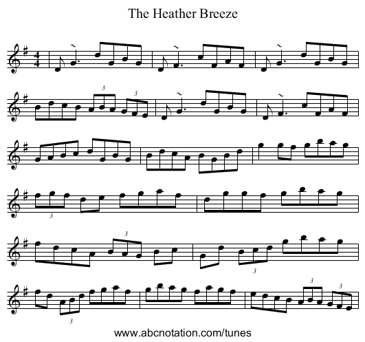 The Heather Breeze - staff notation