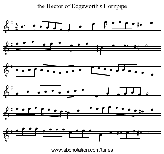 the Hector of Edgeworth's Hornpipe - staff notation