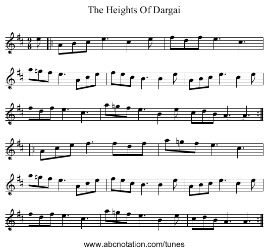 The Heights Of Dargai - staff notation