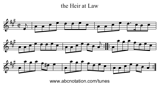 the Heir at Law - staff notation