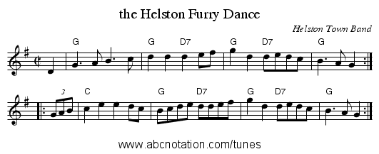 the Helston Furry Dance - staff notation