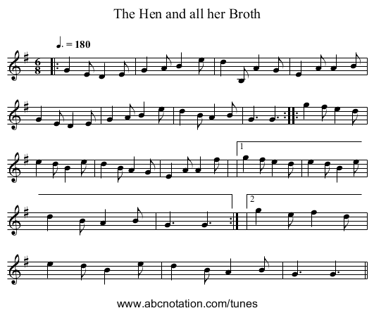 The Hen and all her Broth - staff notation