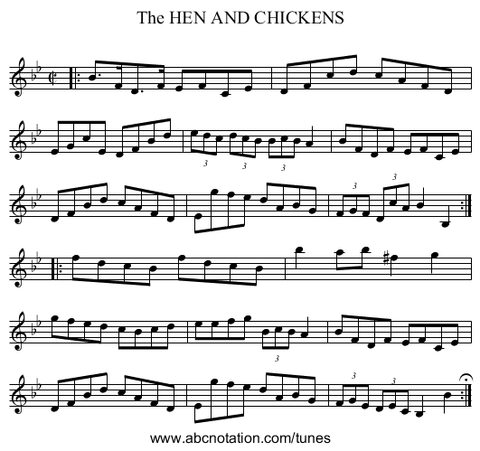 The HEN AND CHICKENS - staff notation
