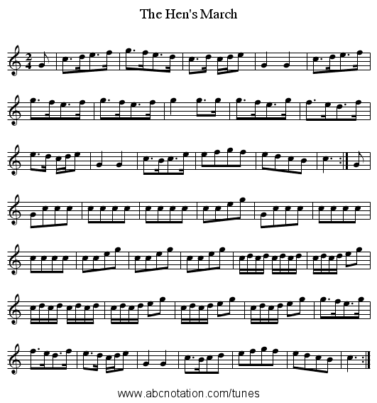 The Hen's March - staff notation
