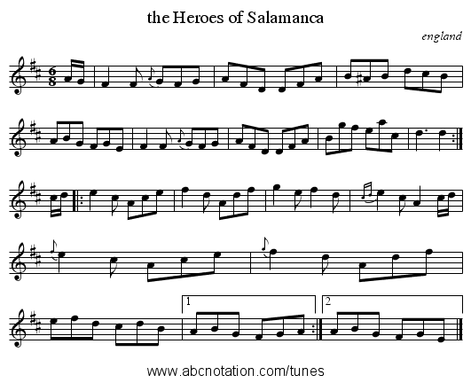 the Heroes of Salamanca - staff notation