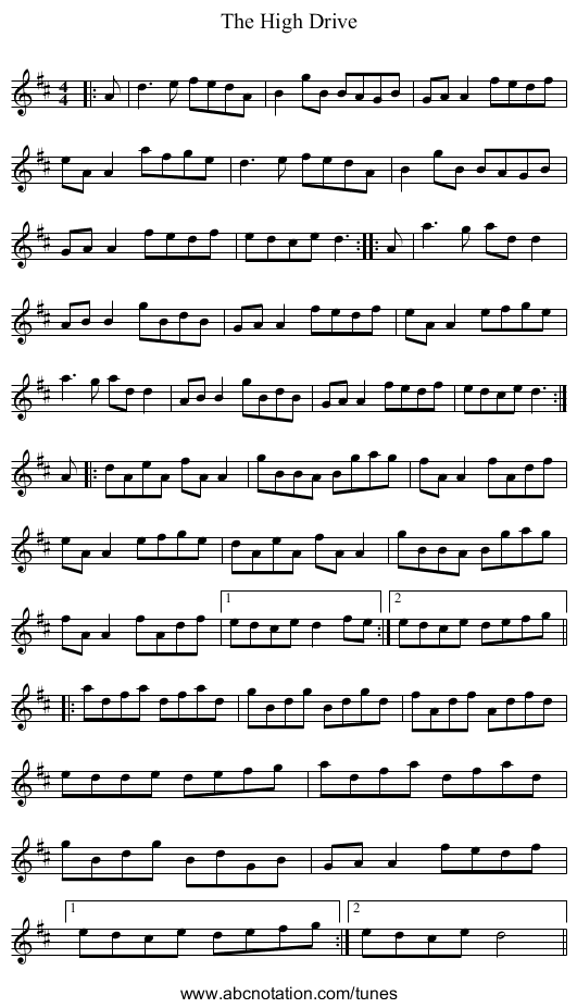 The High Drive - staff notation