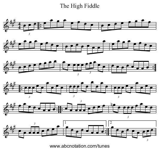 The High Fiddle - staff notation