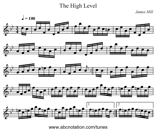 The High Level - staff notation