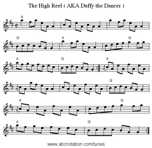 The High Reel ( AKA Duffy the Dancer ) - staff notation