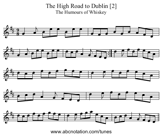 The High Road to Dublin [2] - staff notation