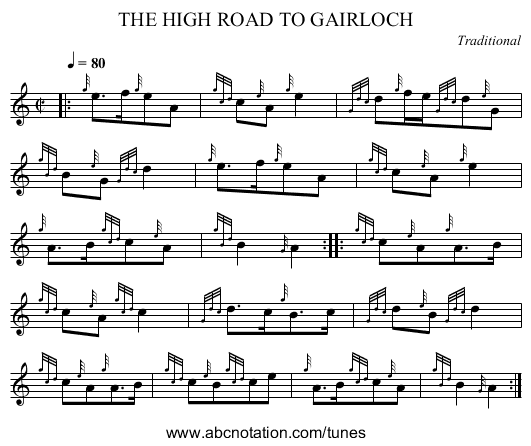THE HIGH ROAD TO GAIRLOCH - staff notation