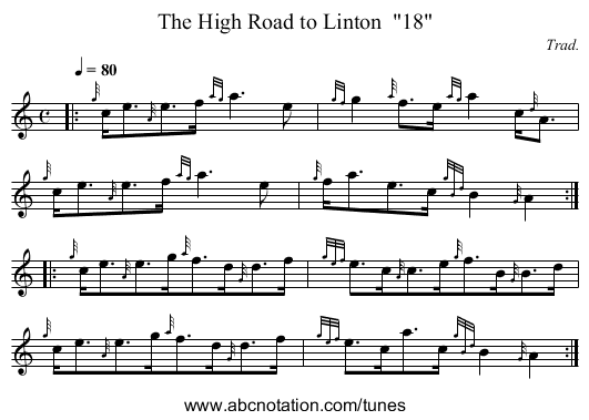 The High Road to Linton  18 - staff notation