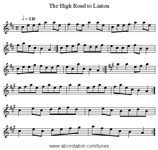 The High Road to Linton - staff notation