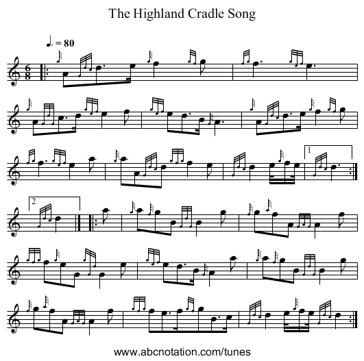 The Highland Cradle Song - staff notation