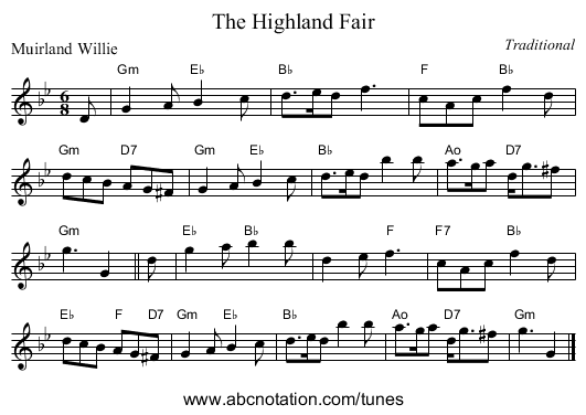 The Highland Fair - staff notation