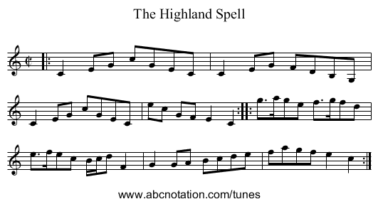 The Highland Spell - staff notation