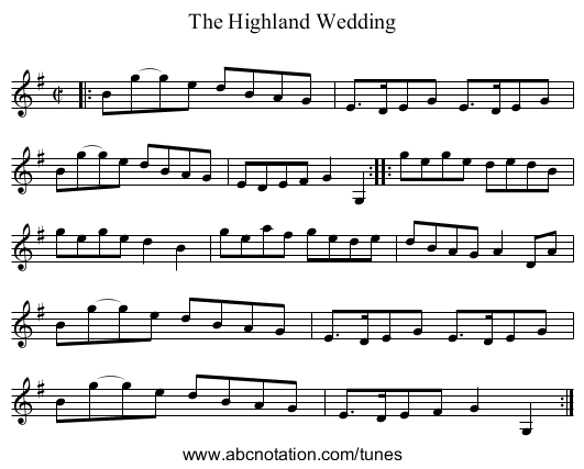 The Highland Wedding - staff notation