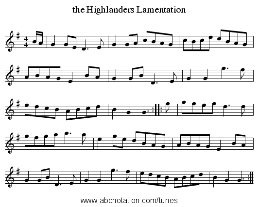 the Highlanders Lamentation - staff notation