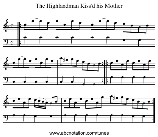 The Highlandman Kiss'd his Mother - staff notation
