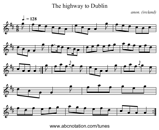 The highway to Dublin - staff notation