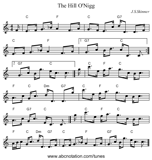 The Hill O'Nigg - staff notation