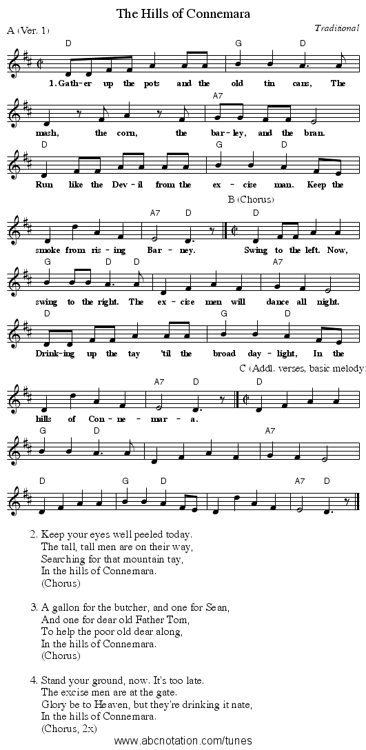 The Hills of Connemara - staff notation