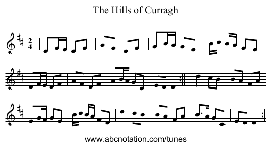 The Hills of Curragh - staff notation