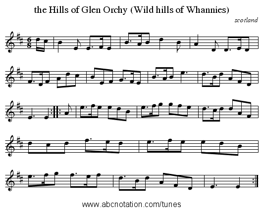 the Hills of Glen Orchy (Wild hills of Whannies) - staff notation
