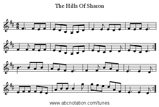 The Hills Of Sharon - staff notation