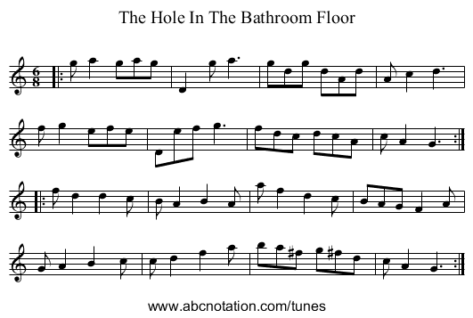 The Hole In The Bathroom Floor - staff notation