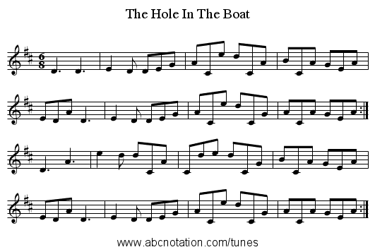 The Hole In The Boat - staff notation