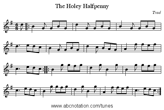 The Holey Halfpenny - staff notation