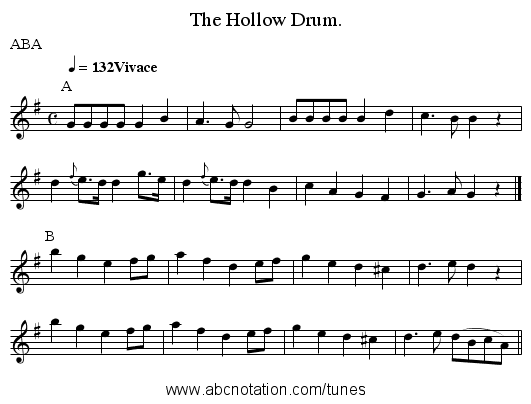 The Hollow Drum. - staff notation
