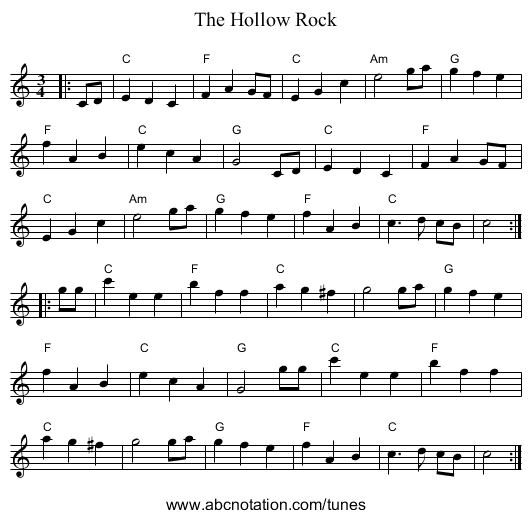 The Hollow Rock - staff notation