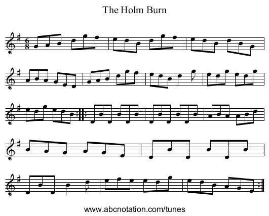 The Holm Burn - staff notation