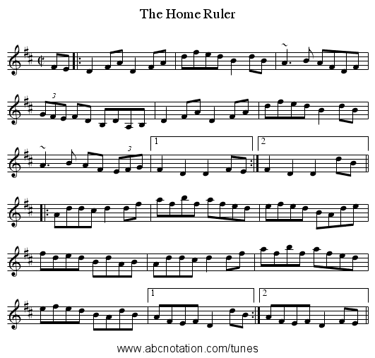 The Home Ruler - staff notation