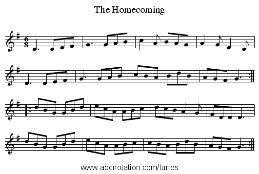 The Homecoming - staff notation