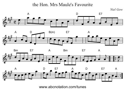 the Hon. Mrs Maule's Favourite - staff notation