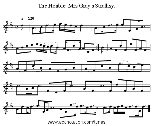 The Honble. Mrs Gray's Strathsy. - staff notation