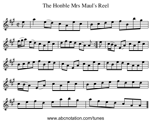 The Honble Mrs Maul's Reel - staff notation