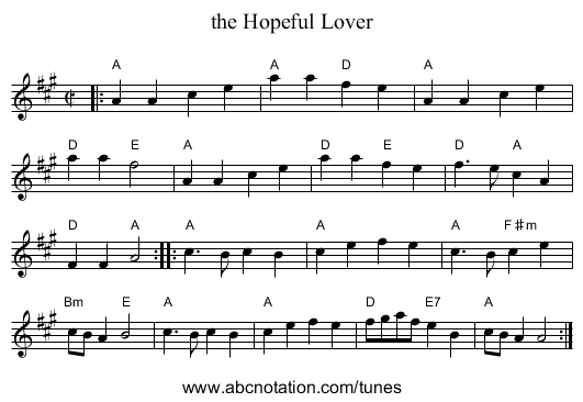 the Hopeful Lover - staff notation
