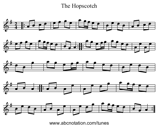 The Hopscotch - staff notation