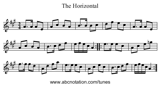 The Horizontal - staff notation