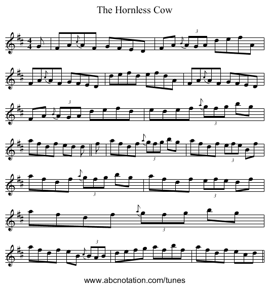 The Hornless Cow - staff notation