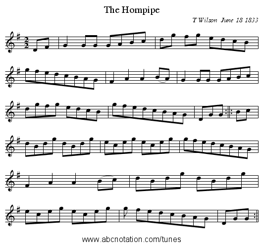 The Hornpipe - staff notation