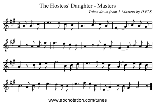 The Hostess' Daughter - Masters - staff notation