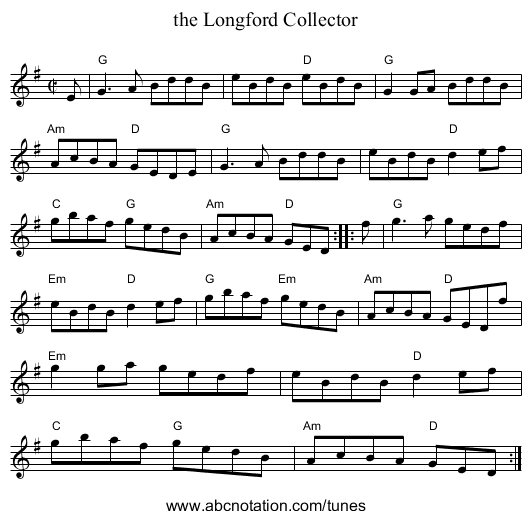 the Longford Collector - staff notation