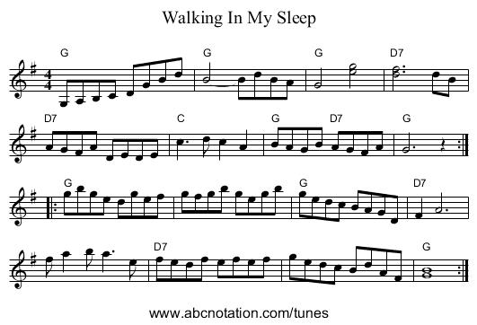 Walking In My Sleep - staff notation